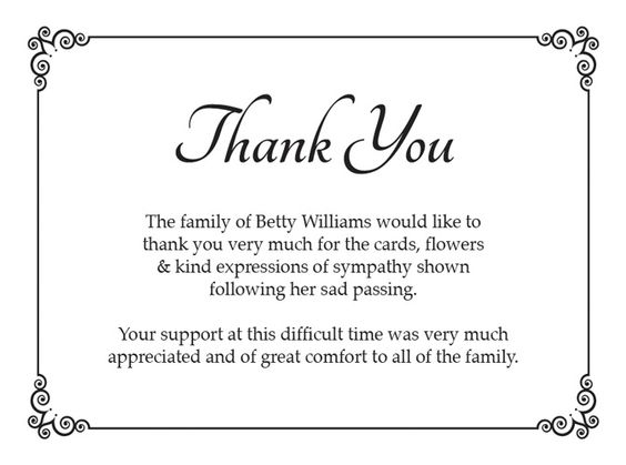 funeral thank you card ideas - Google Search Funeral Pinterest - funeral thank you note