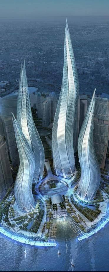 "Hm, looks like tentacles. No? ""Dubai Towers, The Lagoons in Dubai, UAE, by Thompson, Ventulett, Stainback & Associates (TVS) Architects :: 57 floors, height 550m :: vision"""
