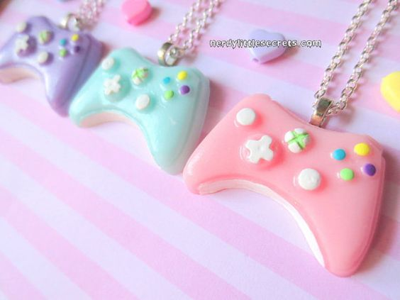 Pastel Mini Xbox 360 Controller Necklace by NerdyLittleSecrets, polymer clay.