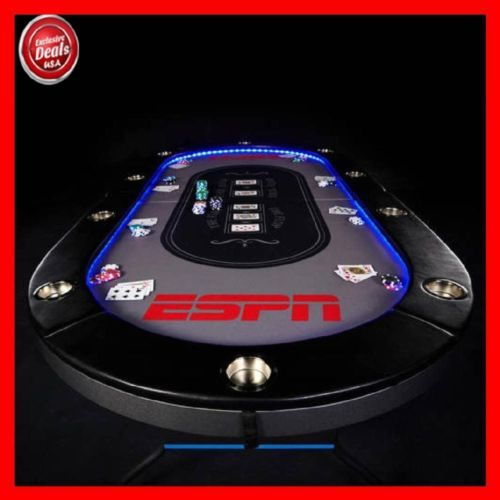 Espn 10 Player Premium Poker Table With In Laid Led Lights No Assembly Required Poker Table Poker Poker Table Top