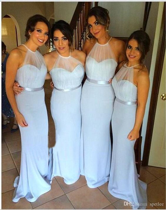 2016 Cheap Mermaid Wedding Junior Bridemaids Dresses Halter Neck Sleeve Mermaid Wedding Party Dresses Plus Size Maid Of Honor Dresses