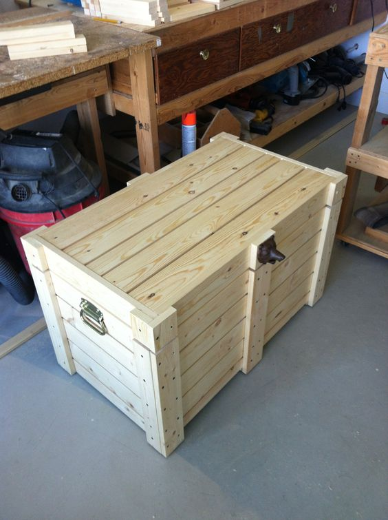 Diy wood beer cooler which also works as a bench seat for Table with cooler in middle