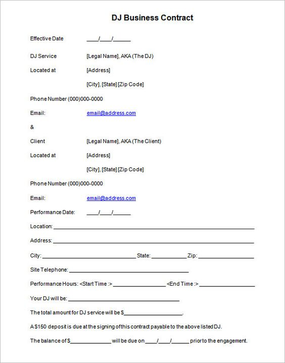 Dj Contract Template Ne Event Sponsorship Agreement Template