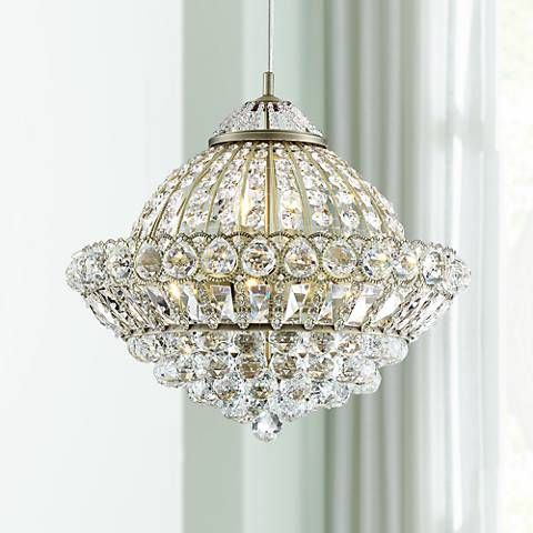 Emelia 19 3 4 Wide Antique Brass And Crystal Pendant Light 58n45 Lamps Plus Crystal Pendant Lighting Pendant Light Crystal Pendant