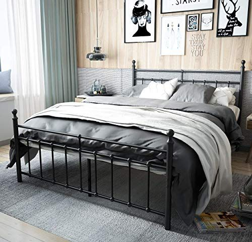 New Temmer Reinforced Metal Bed Frame Queen Size Headboard Stable