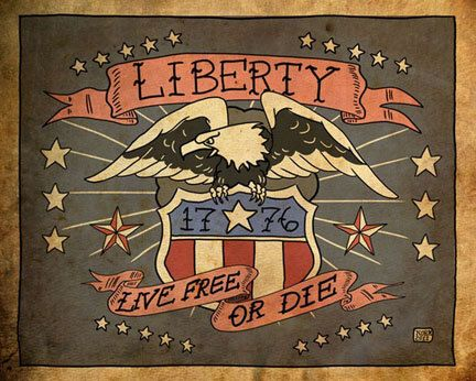 1776 liberty eagle live free or die gicl e print 8x10 for American revolutionary war tattoos