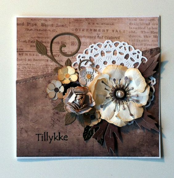 Card with flower and doily Cherry Lynn dies, flourish, Studiolight Vintage line paperpad Vintage