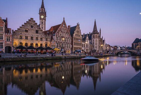 """An Evening in Ghent #ghent #belgium #evening #grasai #twilight #old #speedboat"""
