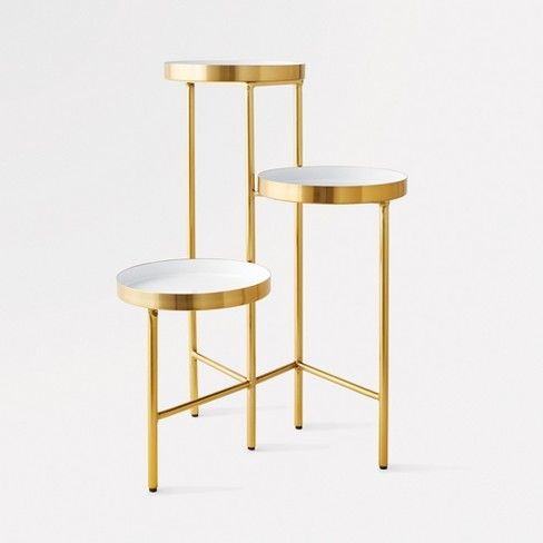 3 Tier Accent Table White Gold Project 62 153 Moveis Decoracao Ideias De Decoracao Decoracao