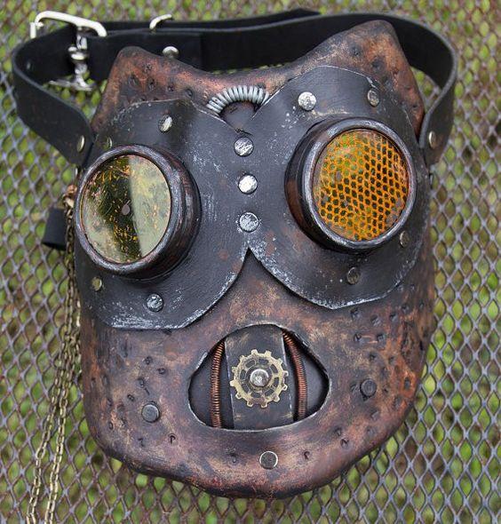 Steampunk Halloween Leather art mask handmade LARP burning man