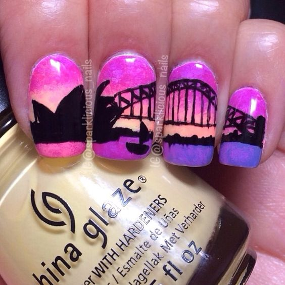 """Sydney Sunset for #NailArtMay. This is how I always remember the sunsets back in Australia, so vivid and stunning, I am feeling a little homesick!…"""