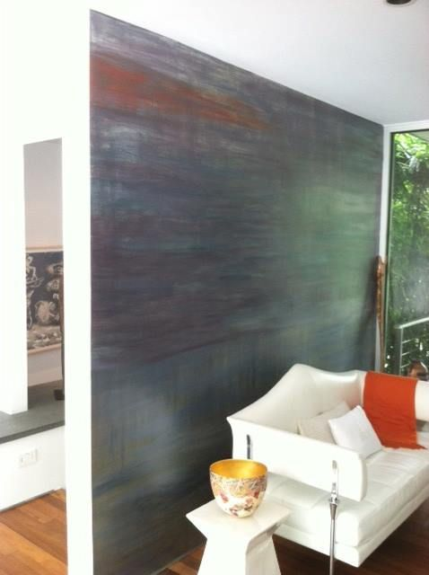 A contemporary multi color accent wall finish created with - Metallic paints for interior walls ...