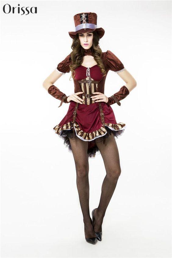 Pas cher Mode Femme Pirate Costume Adulte Steampunk Femmes Costume Dames…