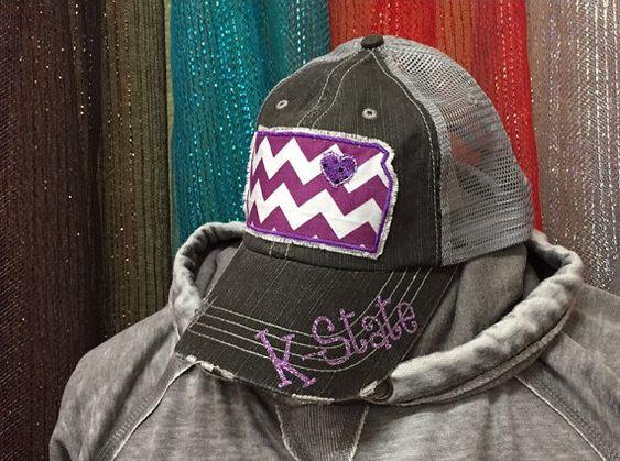 Kansas State University Wildcats Baseball Bling Ladies Womens Trucker Hat K-State by Chasing Elly on Etsy