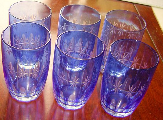 6 Blue Etched Glasses by Bargainhuntersdream on Etsy, $9.95