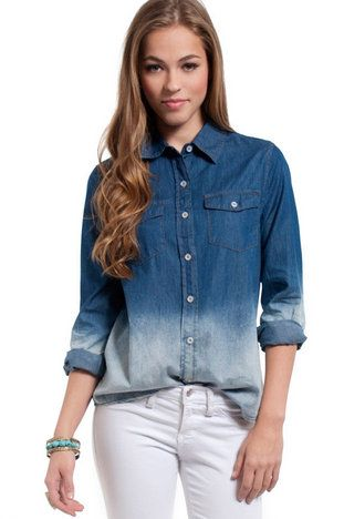 Bleach Denim Shirt $43 at www.tobi.com