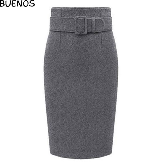 Women Winter Skirt Plus Size 3 Colors Woolen Package Hip Skirts Elasticity Skirt For Women Girls BN481
