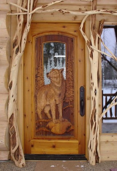 Kabekona wolfcedar pine door with fully carved wolf both for Wood carving doors photos