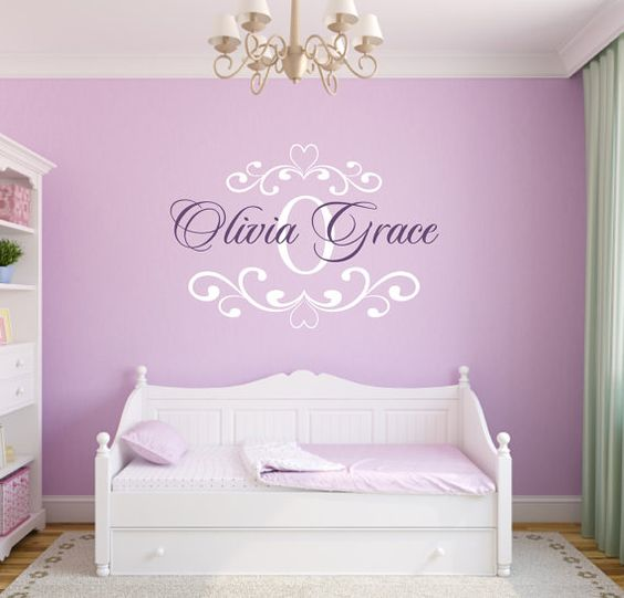 Name Wall Decals Damask Wall And Heart Frame On Pinterest - Custom vinyl wall decals damask