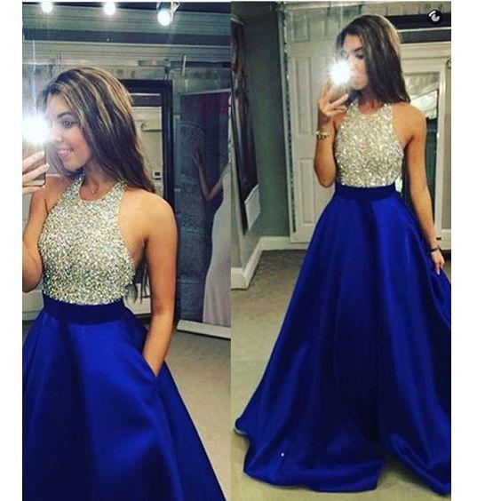 Floor Length Halter Sleeveless Beaded Bodice Prom Dresses Pst0032 on Luulla