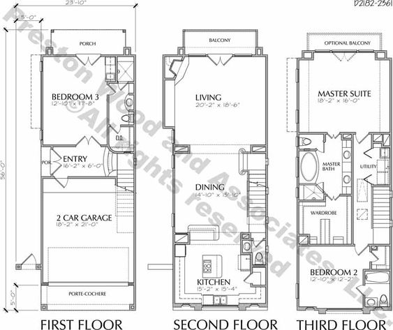 Townhouse plan d2007 d2182 design pinterest for Two story townhouse plans