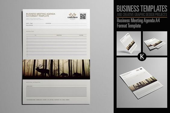 Elegant business Word invoice design by Inkpower on - business meeting agenda format