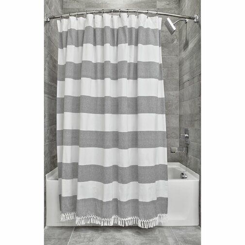 Rideout Wide Stripe Single Shower Curtain Fabric Shower Curtains