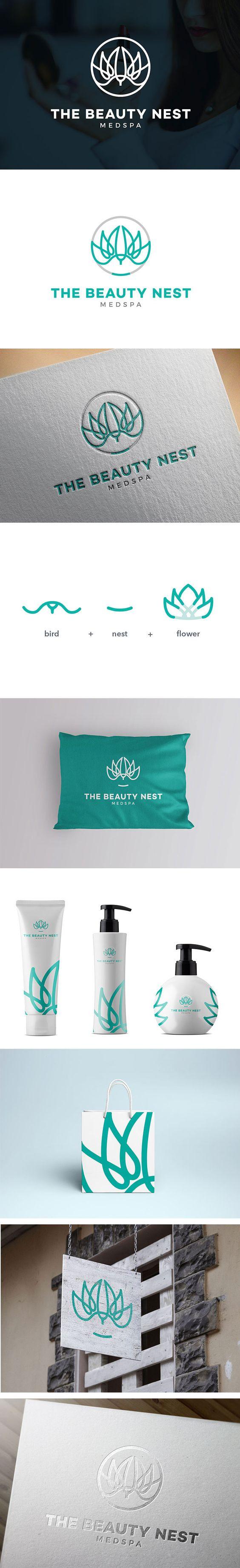 MedSpa Logo Design, Beauty Nest Brand Identity   Spa, Beauty, Clinic, Medical, Bird, Wing, Nest, Mark, Circle   The Beauty Nest MedSPa, Las Vegas US   Celine Le Duigou, Freelance Graphic Designer Perth Australia