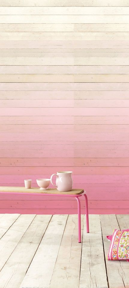 Ombre wood panelled wall: Ombre Walls, Pink Wall, Paneled Wall, Wood Panel Wall, Wood Wall, Pastel Wall, Accent Wall