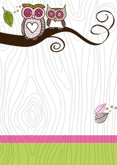 Pink and Green Girlie Owl Invitation Free Download