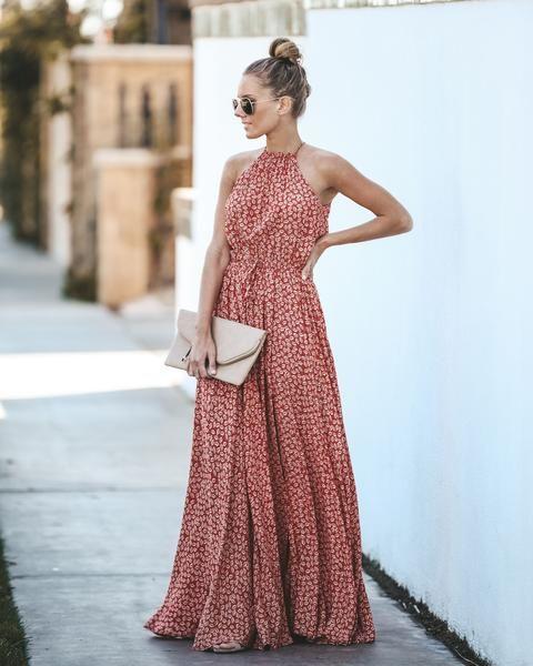 Women Sleeveless Maternity Dress Halter Neck Split Side Solid Flowy Dress with Belted
