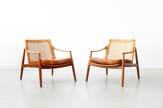 a pair of easy chairs by hartmut lohmeyer wilkhahn danish. Black Bedroom Furniture Sets. Home Design Ideas