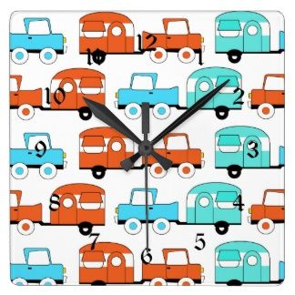 Retro Camping Trailer Turquoise Orange Vintage Car Wallclocks