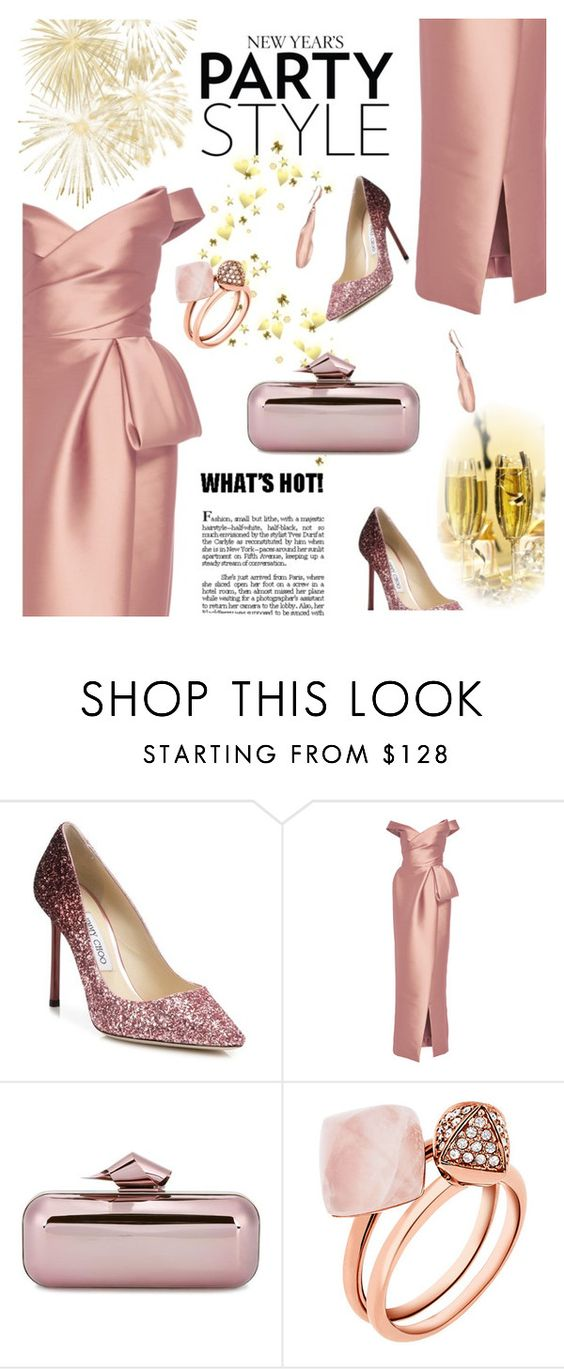"""""""617"""" by believelikebreathing ❤ liked on Polyvore featuring Jimmy Choo, Monique Lhuillier, Michael Kors, Robert Lee Morris and rosegold"""