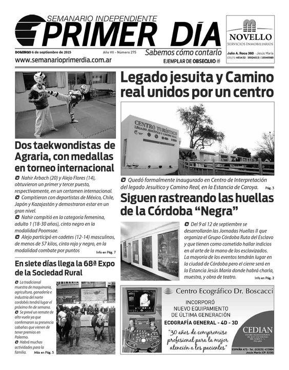 Semanario Primer Día Nº 275  Edición del domingo 06 de septiembre de 2015