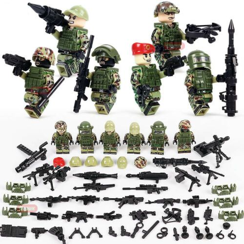 WW2 Classic Military US and Russia Army Tank Kit Soldier Figures Building Block