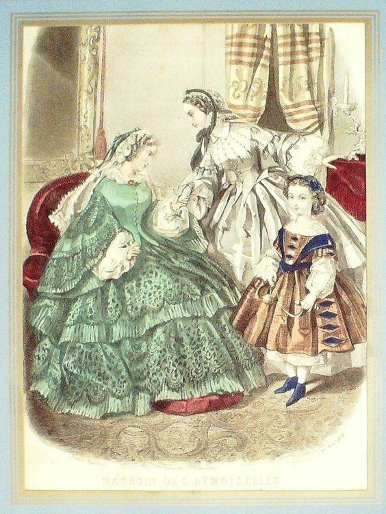 GRAVURE de MODE AUTHENTIQUE-N 60-MAGASIN DES DEMOISELLES-1851