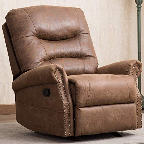 New Anj Rocker Recliner Chair Breathable Bonded Leather Classic Manual Recliner Chair Nut Brown Online Findtopbrandsgreat In 2020 Recliner Chair Rocker Recliners Rocker Recliner Chair