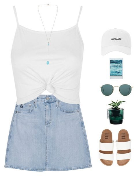"""// f l o r i d a //"" by theonlynewgirl ❤ liked on Polyvore featuring AG Adriano Goldschmied, Topshop, Billabong, Nude and Ray-Ban"
