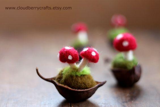 Mushroom Ornament- House Decor- Seed Pod- Toadstool- Autumn- Nature Table- Whimsical-Magical-Fairy-Waldorf-Miniature-Needle Felted-Felt-Wool...