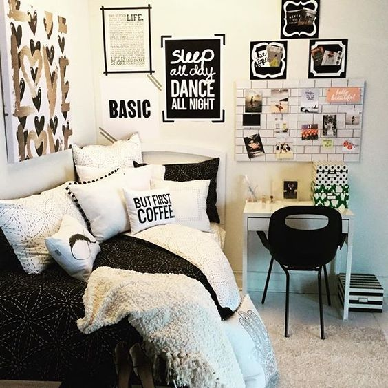 Basic tumblr teen girl room black and white google Black and white room designs