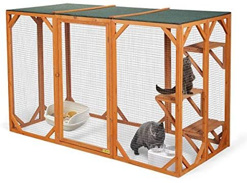 Coziwow 71 X 32 X 43 Large Wooden Catio Outdoor Cat Enclosure Outside Cat Cage House Pet Playhouse Pl Cat Enclosure Cat Cages Cat Cages Indoor