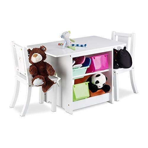Relaxdays Kindersitzgruppe Albus Mit Stauraum 1 Tisch Und 2 Stuhle Aus Holz Kindertischgruppe Fur Jungen Und Madche Kindermobel Kinder Mobel Kindertisch