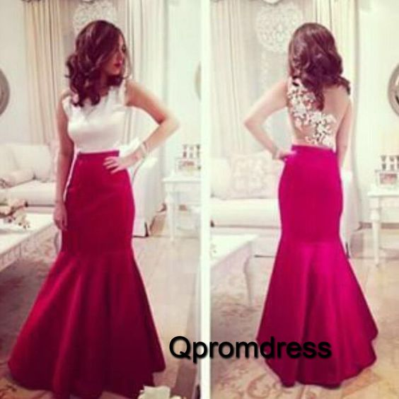 Unique ball gown, modest prom dress, cute ivory lace wine red satin long evening dress for 2016 #coniefox #2016prom
