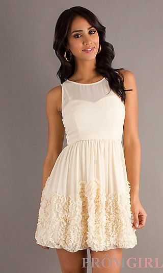 Cute cream colored dress from www.promgirl.com - Sidekick Outfit ...