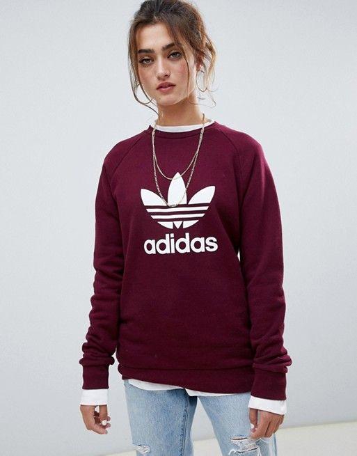 adidas Originals Trefoil Crew Neck Sweatshirt In Maroon