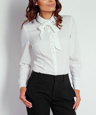 Classic look that never gets old! Absolutely love this!  #zulilyfind! Ecru Tie-Neck Button-Up by NAOKO #zulilyfinds