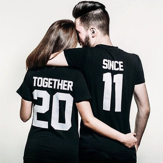 Couple T-shirts set Together Since set of 2 by FunnyWhiteTshirt                                                                                                                                                      Más
