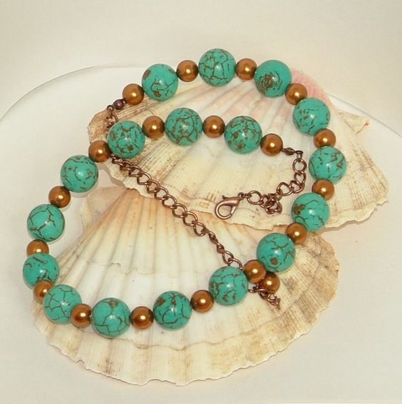 Turquoise And Swarovski Pearl Copper Necklace Adjustable Length