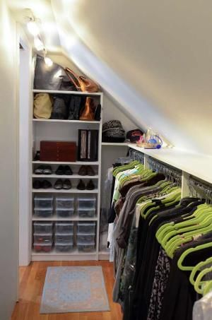 Closet designer Jamie Bevec transformed a crawl space off her master bedroom into a long, well-organized closet that now accommodates her wardrobe, shown, as well as her husband's.: